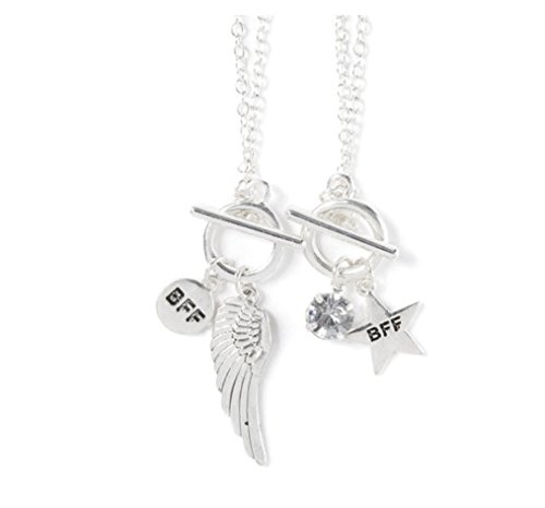 Set of 2 Pendant Necklaces - Star and Angel Wing Best Friends Toggle Charms (One Direction Bff compare prices)