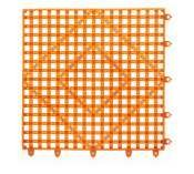 "San Jamar Vm5280 Versa-Mat Interlocking Bar Mat, 12"" Length X 12"" Width, Tangerine Orange front-446452"