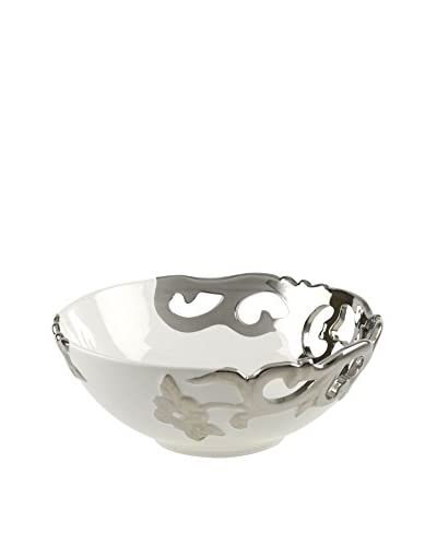 10 Strawberry Street Zara Electroplated 12 Round Bowl, White/Chrome