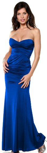 Strapless Gown Formal Evening Party Special Occassion Long Maxi Dress, Medium, Royal Blue