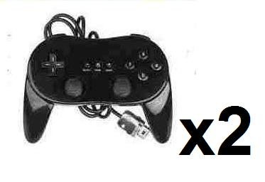 2x New Classic Pro Controller For Nintendo Wii Black