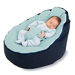 BayB Brand Bean Bag for Babies - Filled Ready to Use - Ships in 24 Hours! (Blue/Blue)