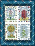 Cross Stitch Kit 14 Count Beach Huts and Trees 30cm x 37cm