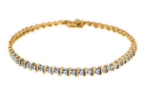 9ct Yellow Gold 0.50ct Diamond Tennis Bracelet 19cm/7.5