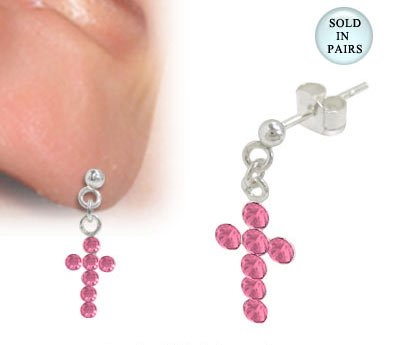 Cross Ear Studs Sterling Silver with Pink Jewels
