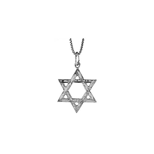 .925 Sterling Silver Textured Star of David Jewish Charm Pendant