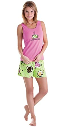 Pink and Green Cotton I Need Coffee Short Set for Women SML (4-6)
