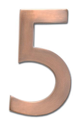 Architectural Mailboxes 3585AC-5  Brass 5-Inch Floating House Number 5, Antique Copper (House Numbers Copper compare prices)