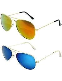 Sheomy Mirrored Sunglasses 0I-3E1M-063R Mercury Green Classic Aviator,Mercury Blue Aviator Combo Pack Sunglasses...