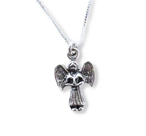 Dainty Sterling Silver Angel Charm Necklace, 16-Inch front-831312