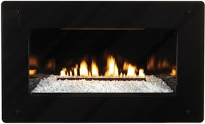 Decorative Black Front for use with Medium Fireplace - Tempered Glass