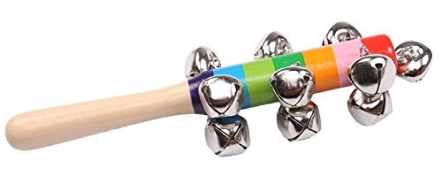Baby's Wood Mixed Colors Shaker Stick 10 Bells Jingle Musical Instrument Toy - 1