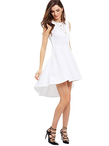 ROMWE Women's Fit And Flare Sleevless Dress High Low Elegant Swing Dresses White L