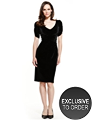 M&S Collection Sparkle Ruched Front Pleat Velour Dress