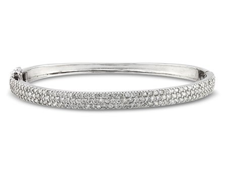 Sterling Silver 5 CT TGW Round Cubic Zirconia Bangle Bracelet