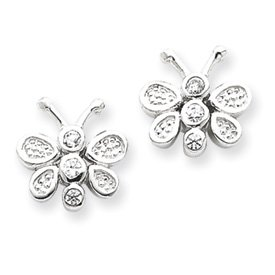 Sterling Silver CZ Butterfly Post Earrings