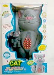 Battery Operated Talking Tom toy (Size : 33X22X13, Colour : Grey)