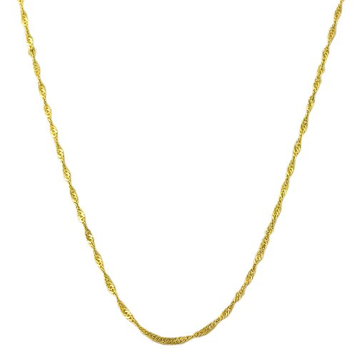 14 Karat Yellow Gold 0.7-mm Singapore Chain (18 Inch)
