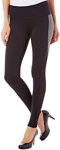 HUE Mesh Panel Active Leggings, XL, Black