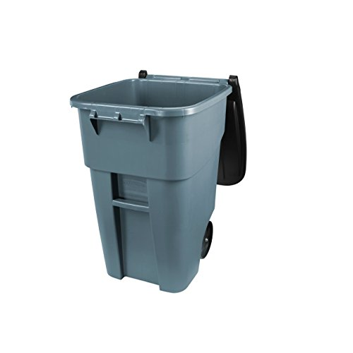 Rubbermaid Commercial Fg9w2700gray Brute Hdpe 50 Gallon Rollout Trash Can With Lid Rectangular
