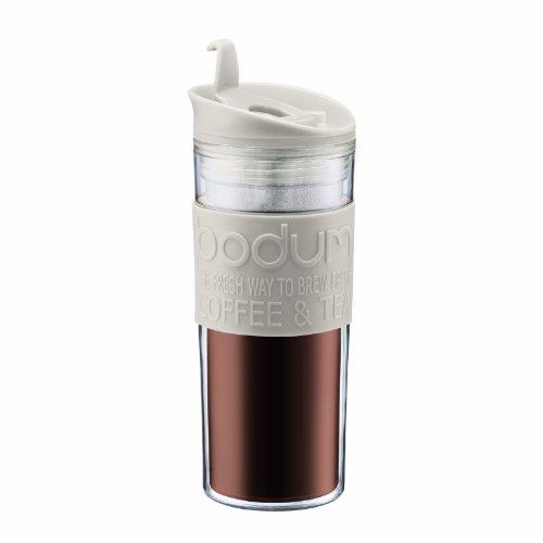 Bodum Insulated Plastic Travel Mug, 0.45-Liter, 15-Ounce, White