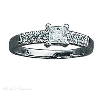 Sterling Silver Princess Cut Cubic Zirconia Ring Pave Cubic Zirconia Band Size 7