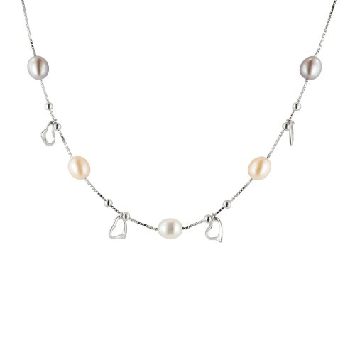 Sterling Silver White, Peach and Mauve Freshwater Cultured Pearl Open Heart Chain Necklace, 18