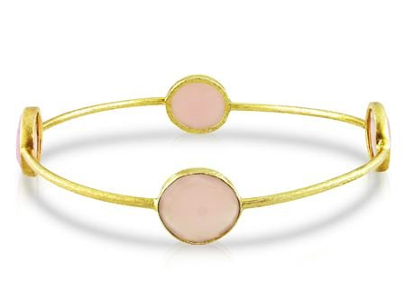 Yellow Gold Plated Silver 16ct TGW Rose Quartz Bangle (8in)