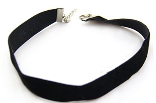 Classic Gothic Emo Plain Black Velvet Choker Necklace Chain 10mm from ChewyBuy by ChewyBuy
