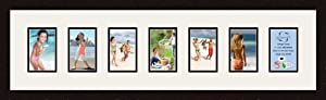 ArtToFrames Alphabet Photography Picture Frame with 7 - 4x6 Openings. and Espresso frame.