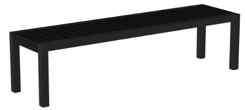 Poly-Wood 3800-12BL Euro Dek Bench, Black Aluminum Frame, Black