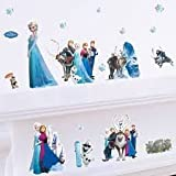 Elsa Anna 3D wall sticker children Baby kids room nursery decoration diy adhesive mural removable wallpaper