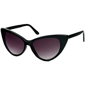 Super Cateyes Vintage Inspired Fashion Mod Chic High Pointed Cat-Eye Sunglasses (Black / Smoke)