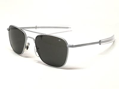 American Optical AO Original Pilot Aviator Sunglasses 57 mm Matte Chrome Bayonet True Color Gray Glass Lenses 30138