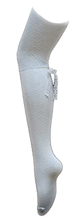 AMU High Knee- Winter White Ladies Over the Knee Sock with Bow