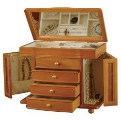 "Mele 760-11 - Josephine 11.5"" High Jewelry Box in Burlwood Oak"
