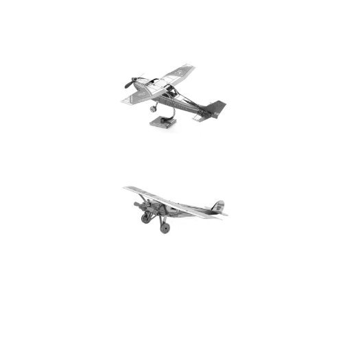 Set of 2 Metal Earth 3D Laser Cut Model Kits: Cessna 172 & Spirit of St Louis