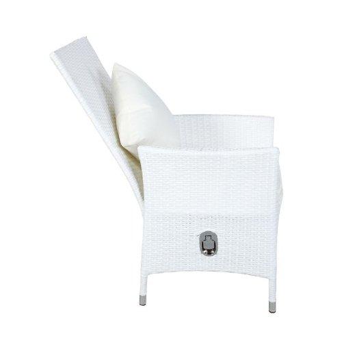 Outflexx Möbel 2-er Set Polyrattan Stuhl verstellbar w29, weiß
