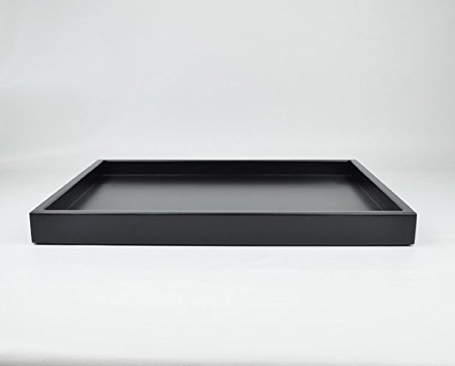 Black Ottoman Tray, Matte Lacquer, Low profile Tray, Coffee Table Tray, Decorative Wood Tray