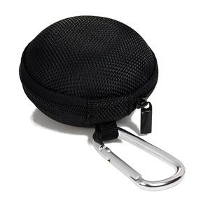 Case Star ® Black Earphone handsfree headset HARD EVA Case - Clamshell/MESH Style with Zipper Enclosure, Inner Pocket, and Durable Exterior + Silver Climbing Carabiner with Case Star Velvet Bag