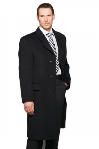 Mens Croydon 3/4 Length Cashmere Overcoat 42inch Chest Regular, Navy (B)
