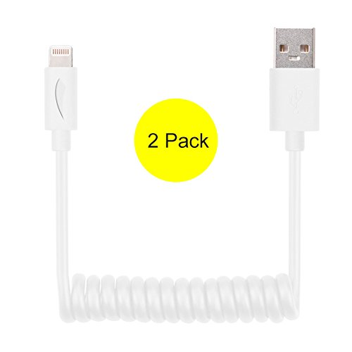 Coil Spring iPhone Charger (2 Pack), Yellowknife Flexible Lightning to USB Cable (3ft) for iPhone 6s 6 7 Plus 5s 5c 5, iPad Pro, Air 2, iPad mini 4 3 2, iPod touch 5 6 7 [Apple MFi Certified], White (Coiled Iphone Charger Cord compare prices)