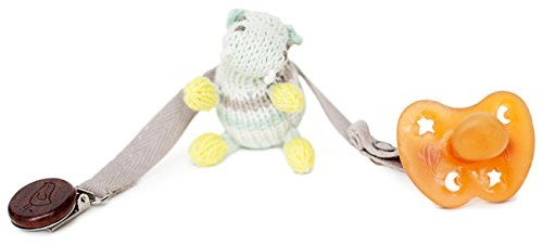 Finn + Emma Organic Cotton Baby Neutral Rattle Pacifier Holder - Hippo - 1