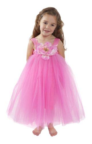 Flower Girl Dress Hot Pink Tulle Wedding Dress For Little Girl Birthday, Baby And Toddler Tutu Dress, Princess Flower Girl Tutu Dresses (M (3-4 Years)) front-555931