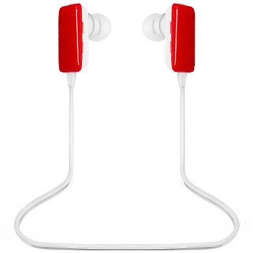 Ecsem® Mini Lightweight Wireless Stereo Sports/Running & Gym/Exercise Bluetooth Earbuds Headphones Headsets W/Microphone For Iphone 5S 5C 4S 4, Ipad 2 3 4 New Ipad, Ipod, Android, Samsung Galaxy, Smart Phones Bluetooth Devices -In Red