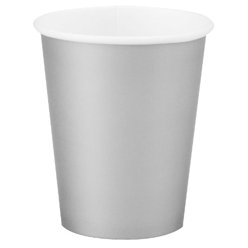 Paper Hot & Cold Cups 9 Ounces 24/Pkg-Shimmering Silver