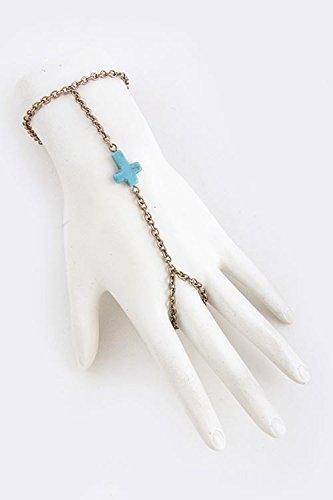 Baubles & Co Faux Gem Cross Accent Finger Bracelet (Antique Gold/Turquoise)
