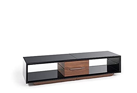 TECHLINK AA150BW Arena High Gloss Black Carcass TV Stand with a Walnut Draw Front and Plinth for Screens up to 75-Inch