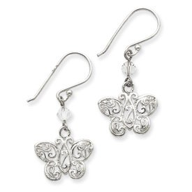 Sterling Silver CZ and Filigree Butterfly Dangle Earrings