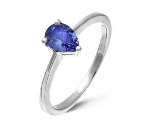 Stunning 925 Sterling Silver Ladies Solitaire Engagement Ring with Tanzanite 0.50 Carat Size Q